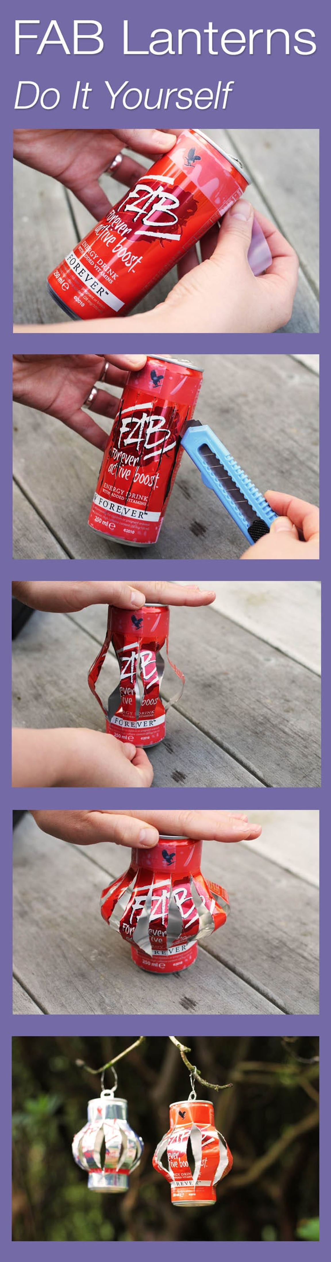 Make These FAB Ulous Lanterns Yourself! #DIY #Foreverliving #Crafts #Cans #Repurpose #Summer #Fun #Energydrink